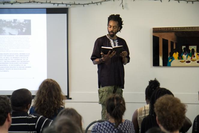 Poet, Performer and Coordinator of J2K NDG (Head & Hands) Neil Guilding