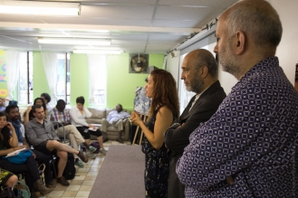 Désirée Rochat, Frantz Voltaire and Aziz Choudry, part of the project team